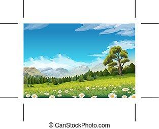 printemps, fond, paysage