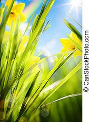 printemps, fond, résumé