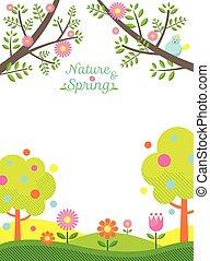 printemps, fond, saison