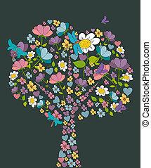 printemps, forme, fleur, arbre