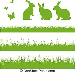 printemps, frontière, herbe, lapins