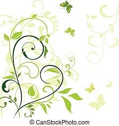 printemps, frontière, vert