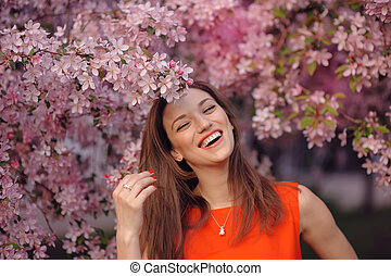 printemps, girl, heureux, parc, fleuri