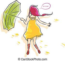 printemps, girl, parapluie