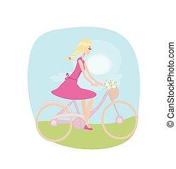 printemps, girl, vélo, field., équitation