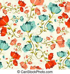 printemps, heureux, modèle fleur, pavot