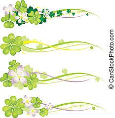 printemps, horisontal, fleurir, bannière, trèfles