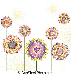 printemps, hortensia, fleur, coloré, fond