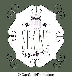printemps, illustration, vecteur, calligraphie, bonjour, lettrage, manuscrit