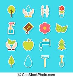 printemps, jardinage, autocollants