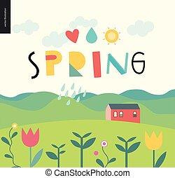 printemps, landcape, lettrage