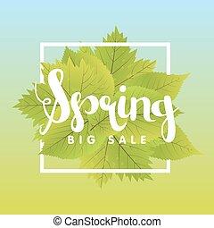 printemps, leaf., vente, illustration, vecteur, vert, gabarit, affiche, bannière