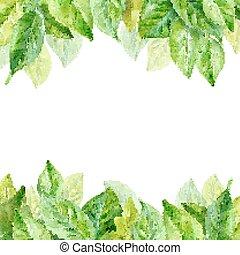 printemps, leaves., illustration, aquarelle, vecteur, fond