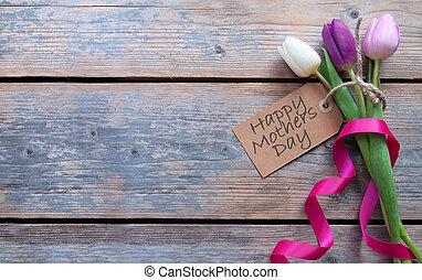 printemps, mères, fleurs, jour