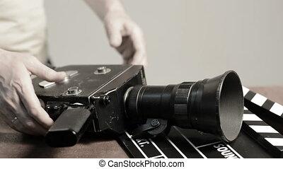 printemps, mécanisme, appareil photo, retro, film, obtient,...