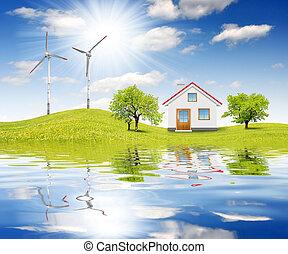 printemps, maison, paysage