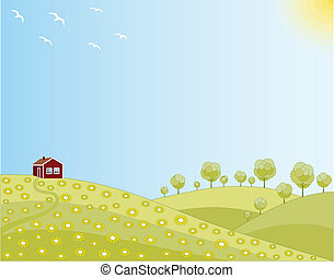 printemps, maison, peu, champ