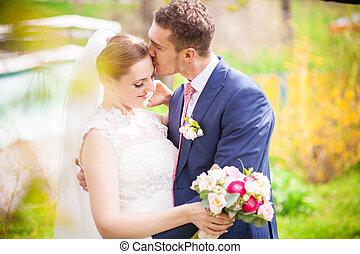printemps, mariage, palefrenier, mariée