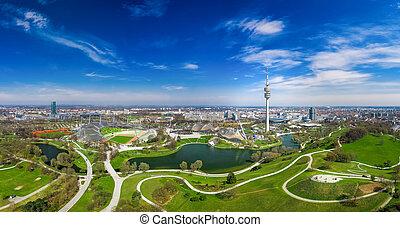 printemps, merveilleux, bourdon, au-dessus, munich, jour, prise vue., olympiapark