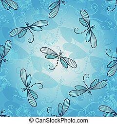 printemps, modèle, seamless, libellules