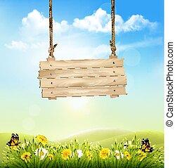 printemps, nature, fond, à, herbe verte, et, bois, signe., vecteur