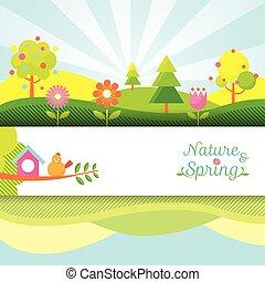 printemps, objet, bannière, saison, icônes