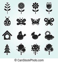 printemps, objet, ensemble, saison, icônes