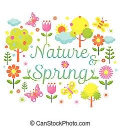 printemps, objet, titre, saison, icônes