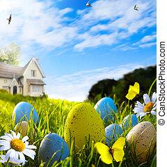 printemps, oeufs, art, paques, champ
