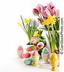 Printemps, oeufs, fleurs, Paques, blanc