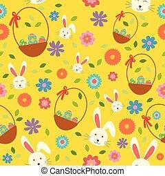 printemps, oeufs, papier peint, seamless, modèle fond, lapin pâques