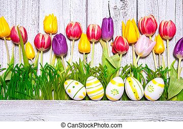 Printemps, oeufs, Paques, coloré, tulipes