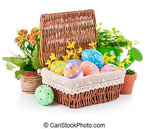 Printemps, oeufs, vert, panier, fleurs, Paques, feuilles