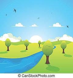 printemps, ou, été, rivière, et, voler, hirondelles