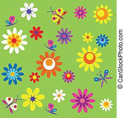 printemps, papillons, fleurs, gabarit, temps