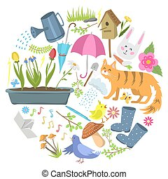 printemps, paques, vecteur, hare., plante, modèle, parc, weather., fleurir, plat, extérieur, jour été, premier, rond, temps, secteur, tôt, illustration., chaud