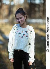 printemps, park., schoolgirl's, portrait