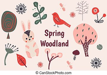 printemps, pays boisé, agrafe, art.