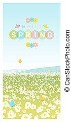 printemps, paysage, 2, bonjour, fond