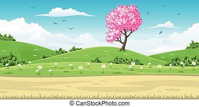 printemps, paysage arbre, illustration