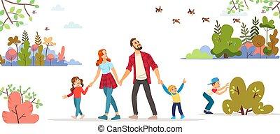 printemps, paysage., vecteur, cityscape, enfantqui commence à marcher, fond, jeune, marche, illustration., spring., court, hiking., famille, trip., day., dessin animé, extérieur, image, enfants, parc