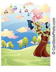 printemps, plante, arbre