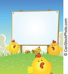 printemps, poulet, bois, paques, signe