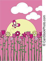printemps, puéril, vecteur, graphique