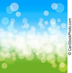 printemps, résumé, effects., lumières, vecteur, fond