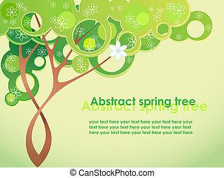 printemps, résumé, fleurs, arbre