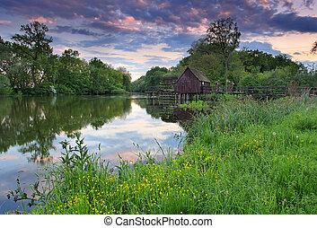 printemps, rivière, coucher soleil, paysage, watermill