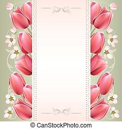 printemps, romantique, fond, tulipes