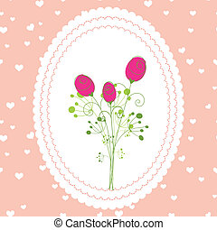 printemps, rose, carte rouge, salutation