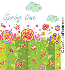 printemps, seamless, carte